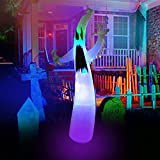 SEASONBLOW 12 Ft Inflatable Halloween Terrible Ghost with Color Changing LEDs Inflatables Blow Up Party Decoration for Outdoor Indoor Holiday Yard Lawn