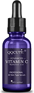 QQcute 30% Vitamin C Serum with Hyaluronic Acid, Organic Anti-aging Moisturizing Skin Care for Face and Neck with Natural Ingredients Eye & Facial Treatment Serum (1 Fluid Ounce)