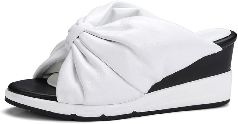 Kvinnliga Kvinnliga Kvinnliga skor ny läder Springaa Fall Simple Bowknop Sandaler Slipper Sexy Wedge Heel damskor för kontors - och karriärkläder  mest föredragna
