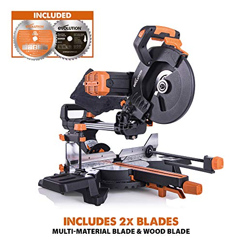 Evolution Power Tools 053-0001B R255SMS-DB+ Double Bevel Multi-Material Sliding Mitre Saw with Plus Pack, 255 mm (230 V)