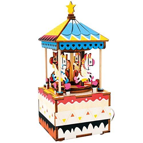 ABBY La cabane des idées de cadeaux de bricolage assemblage manuel La boîte à musique à la roue de rotation Carrousel