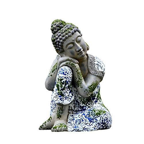 GIAO 46 cm Estatua de Buda Durmiente Zen Azul y Blanco Porcelana Escultura de Buda decoración de jardín al Aire Libre Decoración del Hogar Jardín Patio Adorno