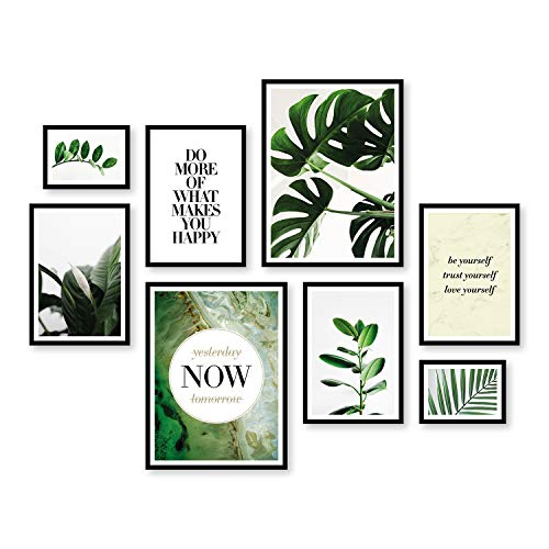 ARTFAVES Poster Set - Elegante BOTANIK | Deko Monstera grün | 8 Moderne Wandbilder Premium Mix | 30x40-21x30-13x18 | Bilder Wohnzimmer, Schlafzimmer | ohne Rahmen