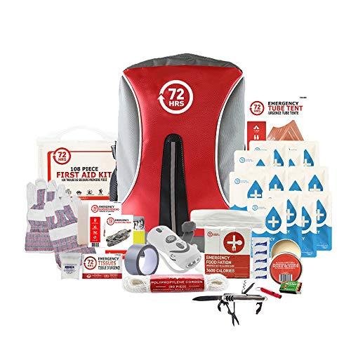 72HRS Kit de survie de luxe contre le tremblement de terre, kit d'urgence, kit de survie, kit de catastrophe, kit d'ouragan pour 1 à 4 personnes