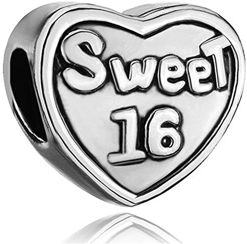 BESTLOVE Sweet 16 Love Heart Charms fits Pandora Charms Bracelets 925 Sterling Silver Bead Charms