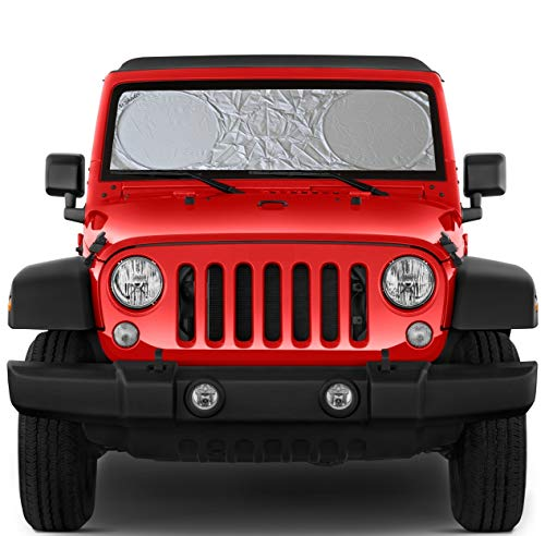 Windshield Sun Shade Compatible with Jeep Wrangler Gladiator JL JK Wrangler Rubicon Toyota Fj Cruiser Front Window Accessories XS