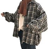 (ニカ)レディース シャツ チェック柄 長袖 韓国風 トップス 綿 コットンシャツブラック