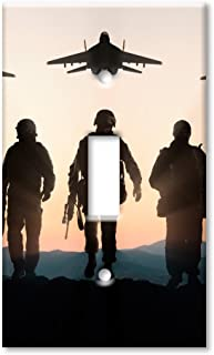 Art Plates Brand Single Toggle Switch / Wall Plate - Military Silhouttes