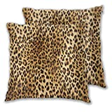 Aieefun Soft Square Throw Pillow Covers Set of 2 Leopard Skins Colorful Wild Animal Print Decorative Cushion Case for Sofa Bedroom Car Couch 16X16 Inch