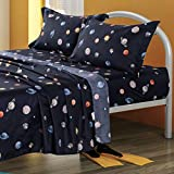 ORIHOME Planet Space Full Bed Sheets, 4 Piece Bedding Set with 1 Fitted Sheet, 1 Flat Sheet and 2 Pillowcases, Durable Brushed Microfiber Made (Planet Space, Navy Blue, Full)