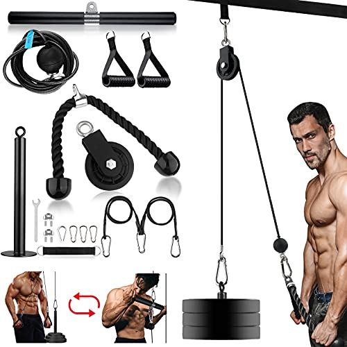Fitness LAT and Lift Pulley System, 3 in 1 Upgraded,Pulley system gym, with Upgraded Loading Pin for Triceps Pull Down, Biceps Curl, Back, Forearm, Shoulder-Home Gym Equipment