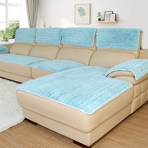 YLCJ pluche antislip hoes sofa, eenkleurig verdikte bank omvat voor kinderen eenvoudige elastische riemen bankhoes voor kinder-C 80x160cm (31x63inch)
