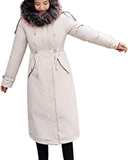 HNTDG Women Faux Fur Hooded Thick Jacket Mid Long Length Overcoat Casual Winter Warm Slim Down Jacket Coat Overcoat