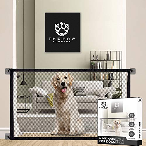 The paw Company Magic Dog gate | Premium pet Safety Stair gate | Stair Gates for Dogs | Room Divider Easy Install Anywhere | Portable Folding mesh gate |41x31 inch | Black