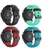 SUPORE Garmin Fenix 3 Correa de Reloj, reemplazo Respirable Suave del silicón Pulsera Hermosa Deporte y edición para Fenix 3/Fenix 3 HR/Fenix 5X Multi-Colors Smart Watch (4set(1))