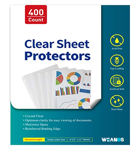 Sheet Page Protectors Binder Sleeves - Designed to Protect Frequently Used 8.5 x 11 inches Plastic Covers for Paper, for 3 Ring Binders, 400ct