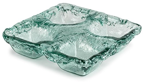 """100% Recycled Glass Textured 4-Dip Bowl - 11""""Lx11""""Wx2.25""""H"""