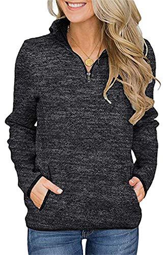 Smile Fish Damen Beil?ufig Lange ?rmel Stehkragen Sweatshirt Top 1/4 Zip Oversized Pullover mit Taschen(Schwarz,S)
