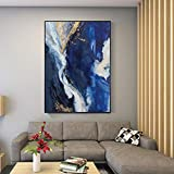 Pintura,Nordic Abstract Dark Blue Ocean Vertical Hand Painted Landscape Oil Painting On Canvas Graffiti Pictures Wall Art Decor For Home Hotel Restaurant,50 ×75Cm Sin Marco