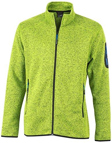 James & Nicholson Herren Jacke Jacke Knitted Fleece Jacket grün (Kiwi-Melange/Royal) Large