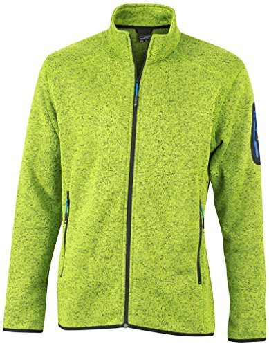 James & Nicholson Herren Jacke Jacke Knitted Fleece Jacket grün (Kiwi-Melange/Royal) Medium