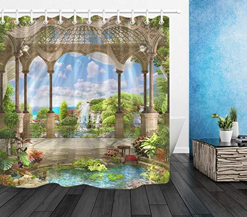 ZZ7379SL sobre Hermosos Arcos y Flores árabes Cortina de baño impresión Digital 3D Resistente al Agua y al Moho +12 Ganchos