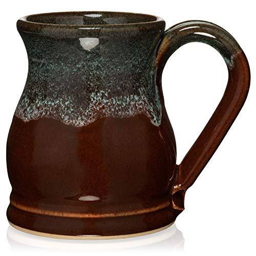 Uncommon Clay 20oz Potbelly Coffee Mug Handmade in the USA (Chestnut/Sage)