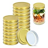 Canning Lids 16 Pack, 8 Wide Mouth & 8 Regular Mouth Canning Lids, Food-Grade Storage Caps for Canning Jars, Leak Proof and Tightness, Mason Jar Lids Fits Ball, Kerr & More (Gold)