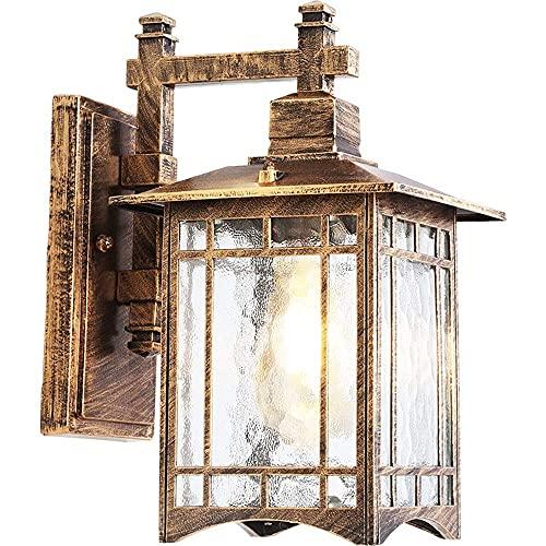 BJClight Lámpara de pared interior, lámpara de pared exterior pequeña de granja retro, aplique de montaje en pared, accesorio impermeable de aluminio con pantalla de vidrio martillado