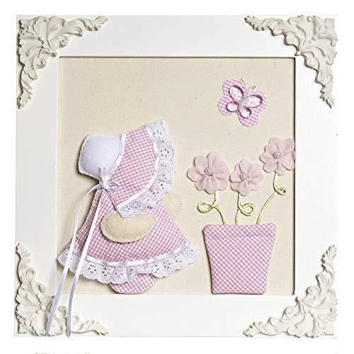 Quadro Decorativo Camponesa Vaso, Quarto Bebê Infantil Menina, Potinho de Mel, Rosa