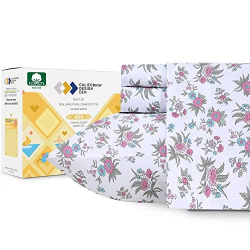 California Design Den 400-Thread-Count 100% Pure Cotton Sheets - 3 Piece Anthro Florals - Multicolor Twin XL Printed Bed Sheet Set, Long Staple Cotton Sateen Weave, Deep Pocket Fits Mattress 15''