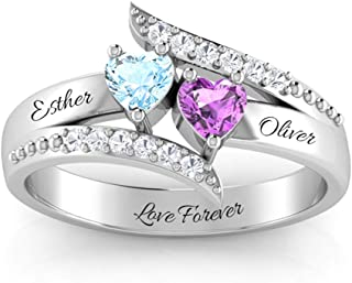 Personalized Sterling Silver Mother Rings with 2 Simulated Birthstones Custom Heart Promise Rings for Her Engraved Promise Love Rings for Couples