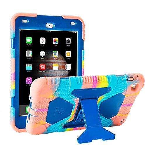 iPad Mini 4 Case ACEGUARDER Full Body Protective Premium Soft Silicone Cover with Adjustable Kickstand (Colorful Blue)
