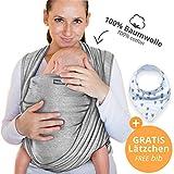 Makimaja - Portabebés hecho de algodón 100% - gris claro - portabebés de alta calidad para recién nacidos y bebés hasta 15 kg - incluye bolsa para guardar y babero