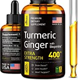 Turmeric Curcumin with Ginger and BioPerine - Made in USA - Natural Anti Inflammatory Supplement - Pure Turmeric Ginger for Joint Support - Brain and Heart Health - Vegan, Non-GMO - 2 fl oz