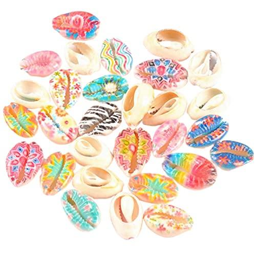 50 piezas de conchas marinas coloridas joyas con dijes de océano para el tema del océano, collar, pulsera, fabricación de bricolaje (azul rosa)
