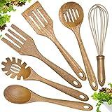Wooden Cooking Utensils Set,Teak Wood Kitchen Utensils Set, 6-Piece Wooden Spoons for Cooking...