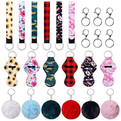 Chapstick Holder, Lip Balm Holder Keychain set with Wristlet Keychain, Keyring and Fuzzy Ball for Girls Women Christmas Valentine Birthday Gifts (24 Pieces)