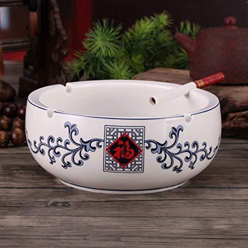 N / A Azul y Blanco cenicero de cerámica Europeos Fineceramics tamaño Retro salón Creatividad práctica Amplio Stock Cenicero Personalidad Oficina Redonda (Color, Word),como una bendición