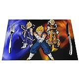 Tovagliette di cartone animato Dragon Ball Z Tovagliette resistenti al calore Tovagliette in PVC lavabile antiscivolo antimacchia Set di tovagliette in feltro set di 6,12X18 pollici