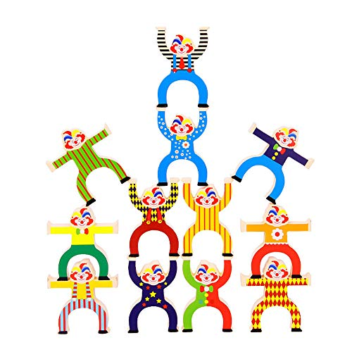 Wooden Circus Clowns Stacking Toy Jester Balance Blocks Game for Kids