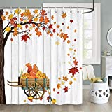 JAWO Fall Shower Curtain, Romantic Autumn Fall of Maple Leaves on Farmhouse Rustic Wooden Pumpink Thanksgiving Shower Curtain Sets, Fabric Autumn Cute Squirrel Shower Curtain Hooks Include, 70 in