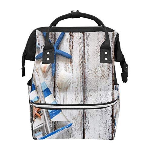 Rucksack mit Muscheln und Seestern auf Holztisch, Grau, große Kapazität, Reisetasche, Tagesrucksack