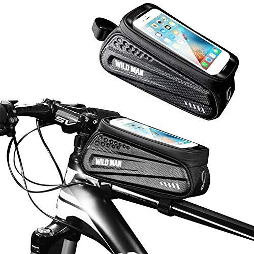 Bolsa para bicicleta con carcasa dura bolsa para travesaño delantero bicicleta de montaña teléfono móvil pantalla táctil tubo superior sillín equipo para equitación paquete de almacenamiento material impermeable