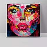 Abstrakte Wandkunst Leinwandmalerei Bunter Mann Frau Sterne Gesicht Ölgemälde Dekorativer Kunstdruck Für Wohnzimmer Modernes Dekor 60 * 60cm