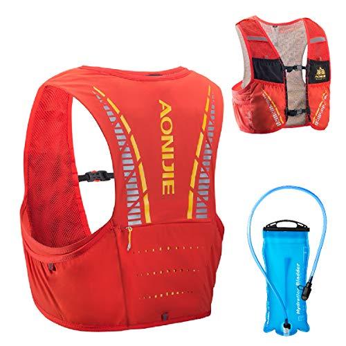 TRIWONDER Mochila de Hidratación 5L Ligero Superior Chaleco para Trail Running Ciclismo Marathoner Profesional Hombre Mujer (Nananja y Rojo - con una 2L vejiga de Agua, L XL: 102-115 cm)