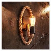 ブラケットライト アメリカのレトロなラウンドロープ麻縄エジソンの電球ウォールライトアイルバルコニー階段バーコーヒーショップアイアンウォールアートウォールランプ (Lampshade Color : Ellipse, Wattage : LED bulbs)
