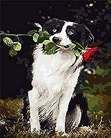 番号によるDiyペイントデジタル油絵犬の口にバラがあり、大人の子供たちはデジタル家の装飾によってペイントします
