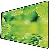 Tappetino per mouse da gioco [600x300 x 3 mm],Foglie, foglie nell'acqua Spa Apri il tuo chakra con la foto monocromatica ecologica della natura, v Base antiscivolo 45x45cm