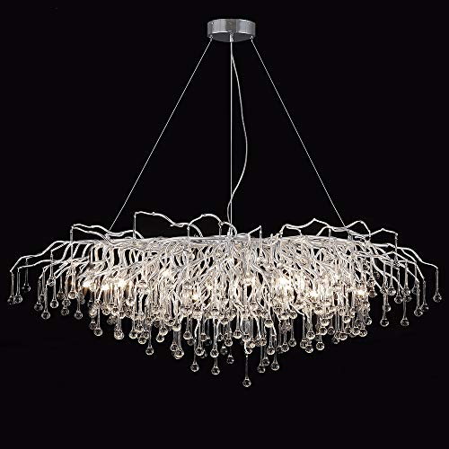 ANTILISHA Modern Crystal Chandelier Rectangle Rain Drop Forest Ceiling Light Fixture Pendant Chandelier for Dining Room Kitchen Island Foyer Large Chandeliers High Ceilings Long Large 45'' Silver